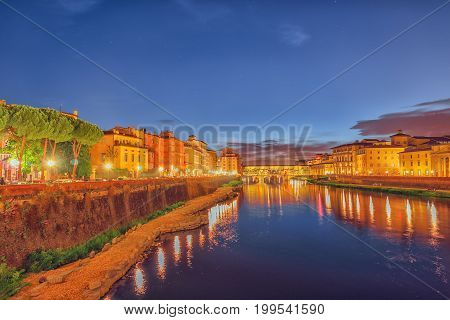Beautiful Landscape, Panorama On Historical View Of The Florence - Ponte Vecchio Is A Bridge In Flor