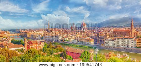 Beautiful Landscape Above, Panorama On Historical View Of The Florence From  Piazzale Michelangelo P