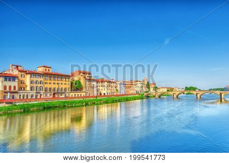 Beautiful Panoramic View Of The Arno River And The Town Of Renaissance Italy - Florence. Italy.