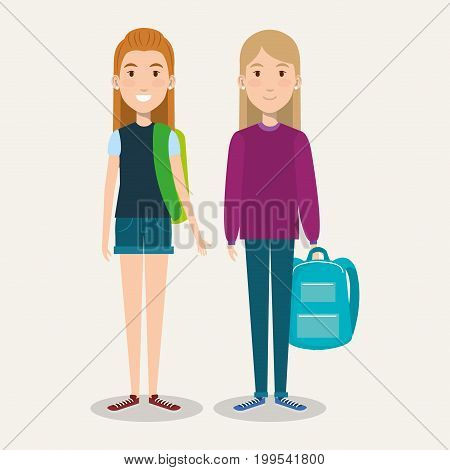 beautiful schoolgirls with backpacks on white background vector illustration