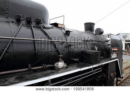 steam locomotive in Umekoji steam locomotive shed Kyoto Japan poster