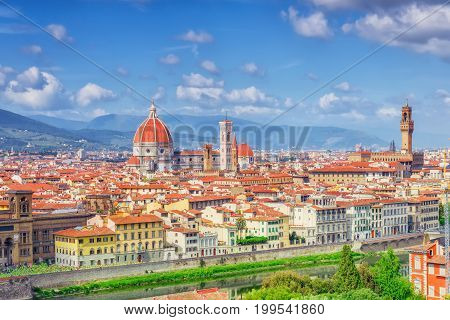 Beautiful Landscape Above, Panorama On Historical View Of The Florence From Boboli Gardens (giardino