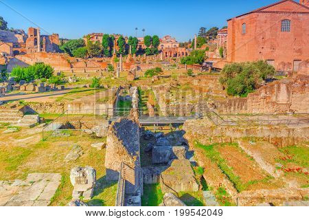 Archaeological And Historical Objects In Rome, United By The Name - Roman Forum. In Right Part - Cur