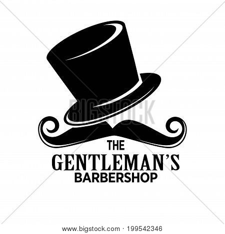 Gentlemans barber shop black promotional emblem with tall hat and curled mustaches isolated cartoon vector illustration on white background. Salon of male beauty monochrome advertising logotype.