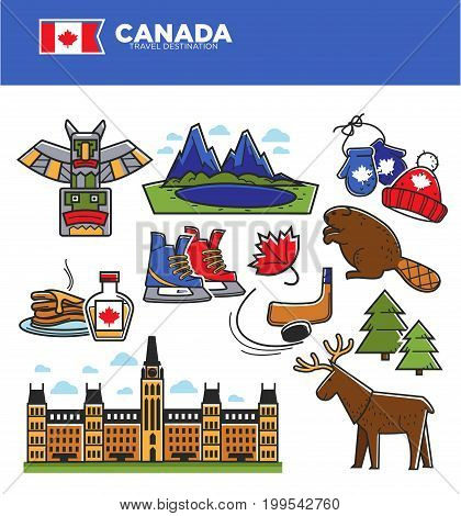 Canada travel tourism landmarks and culture famous symbols. Canadian flag, parliament or maple leaf syrup on pancake, traditional hockey ice skate, reindeer or knitted winter mittens. Vector set