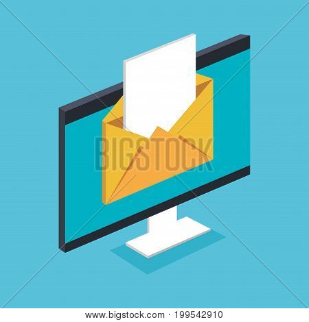 email notification on pc electronic mail message vector illustration