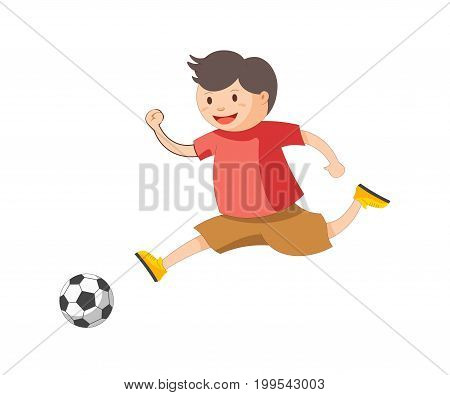 Funny little boy in red T-shirt, brown shorts and yellow sneakers plays football isolated cartoon vector illustration on white background. Child involved in outdoor activity. Cheerful kid kicks ball.
