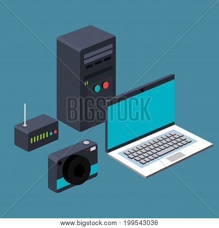 technology laptop cpu router camera device vector illustration