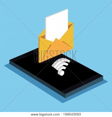 smartphone email message wifi internet vector illustration