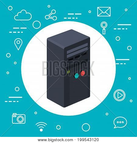 case of computer server workstation technology wireless vector illustration