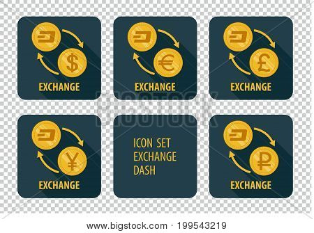 Exchange cryptocurrency Dash vector icons on a dark background with arrows and long shadows
