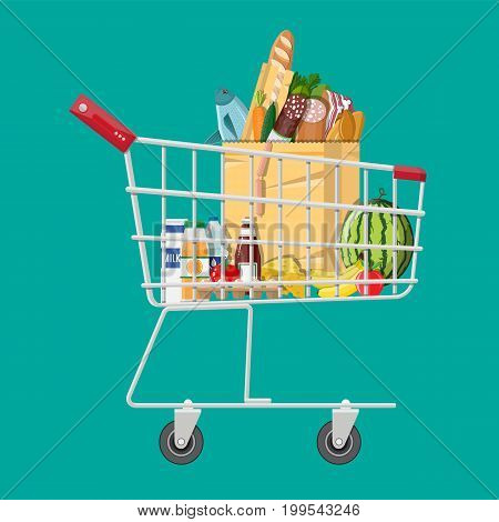 Shopping cart full of groceries products. Grocery store. Supermarket. Fresh organic food and drinks. Vector illustration in flat style