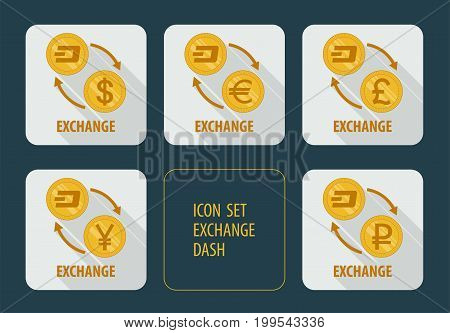 Vector icons exchange cryptocurrency Dash for different currencies with arrows on a white background with long shadows