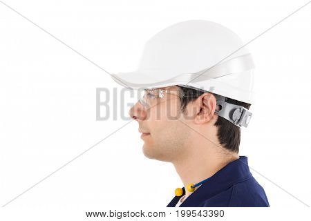 Portrait of a worker. Isolated on white