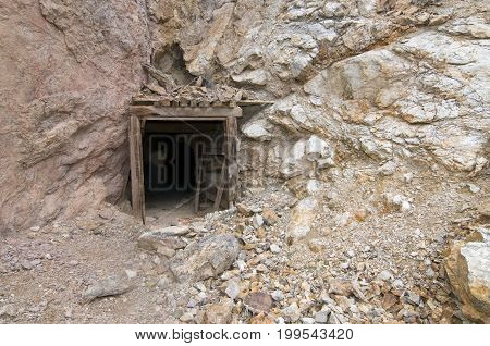Abandoned mine entrance in Death Valley CA