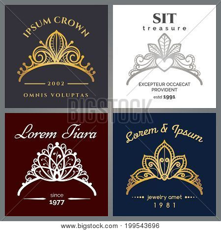 Tiara luxury logo set. Vector jewelry crowns emblems for expensive restaurant or beauty woman