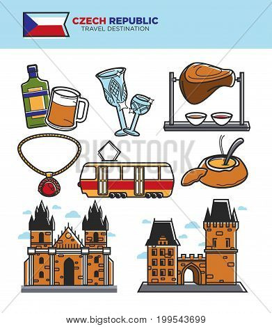 Czech Republic tourism travel symbols and famous tourist landmark sightseeing. Czech flag, Prague castle at King Charles bridge, Bohemian crystal glass, goulash soup or pork knuckle. Vector icons set