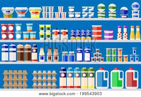 Showcase fridge for cooling dairy products. Different colored bottles and boxes in fridge. Refrigerator dispenser cooling machine. Milk, yogurt, sour cream, eggs. Vector illustration in flat style