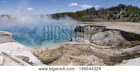 Excelsior Geyser Crater in Midway Geyser Basin Yellowstone National Park, Wyoming