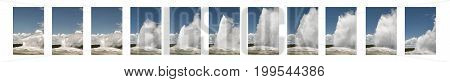 Sequence of Old Faithful Geyser erupting at Yellowstone National Park, Wyoming