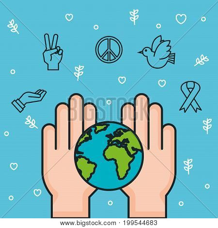 hands world earth together symbol peace vector illustration