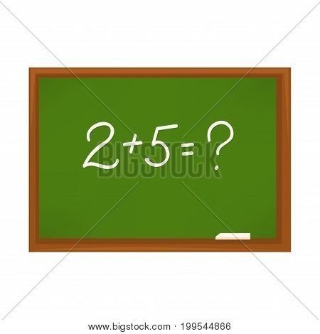 Vector illustration of green chalkboard with numerals summary isolated on white.
