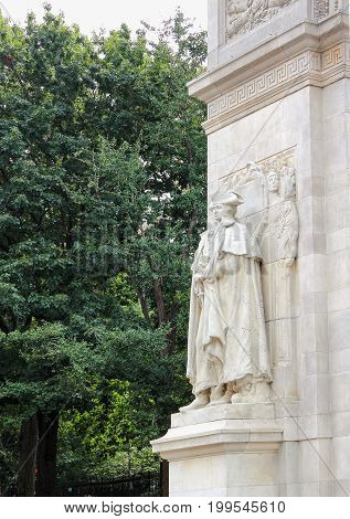 New York USA - September 27 2016: Close up of the Washington as Commander-in-Chief Accompanied by Fame and Valor' (1916) by Hermon MacNeil' located on the arch entrance of Washington Square Park.