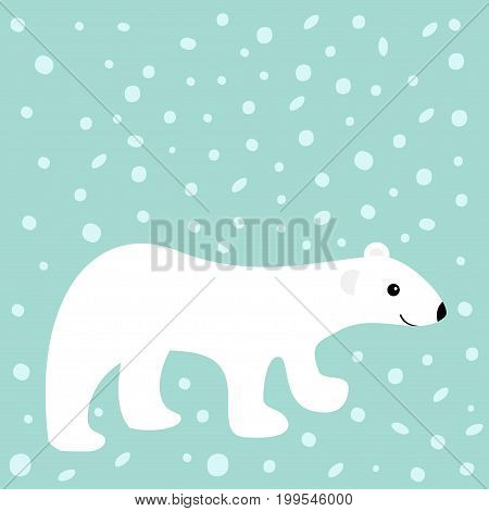 Arctic polar white bear cub. Cute cartoon baby character. Flat design. Winter blue background with snow flake. Vector illustration