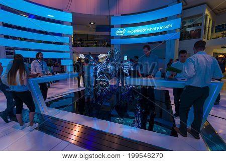 BERLIN - SEPTEMBER 04 2015: Stand of company Intel. International radio exhibition Berlin (IFA)