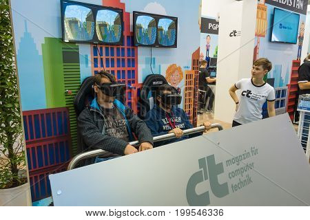 BERLIN - SEPTEMBER 04 2015: Stand for testing virtual reality equipment Oculus Rift. International radio exhibition Berlin (IFA)