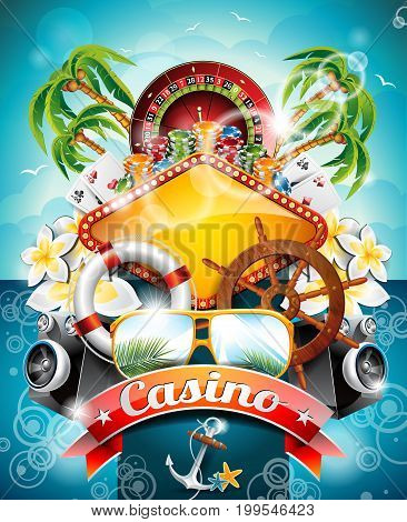 Vector Illustration On A Casino Theme With Roulette Wheel And Ribbon On Tropical Background. Eps 10