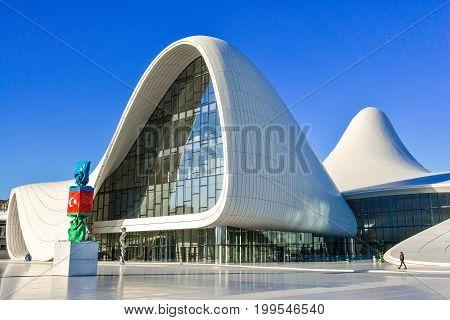 Baku,Azerbaijan. May 25, 2017. Heydar Aliyev Center, exhibition gallery in Baku