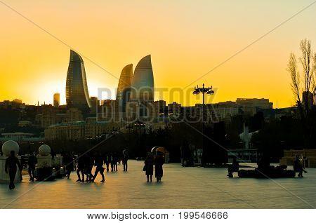 Baku,Azerbaijan. October 25, 2016. Baku boulevard at sunset