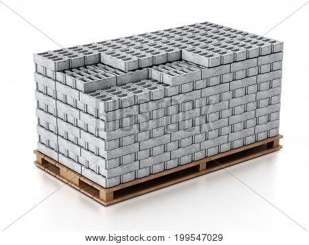 Stack of gray construction bricks standing on wooden base. 3D illustration.