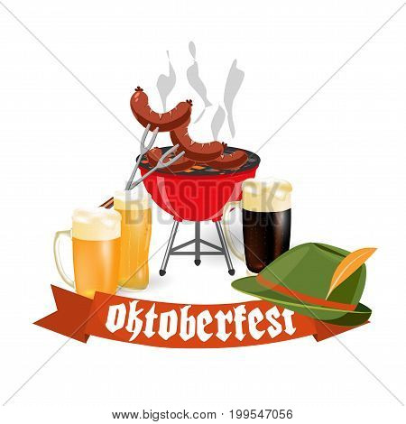 Oktoberfest banners in Bavarian color. Light and dark beer, sausages, brazier, hat. Feast of Bavaria with a red ribbon Oktoberfest. Vector illustration