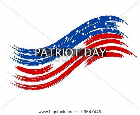 Patriot Day wave in colors of the national flag on a white background. Inscription. Vector illustration