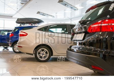 Showroom And Car Of Dealership Ford In Kirov City In 2017