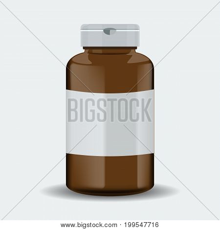Brown realistic medical container or pills box mockup. Vector illustration isolated on white background.