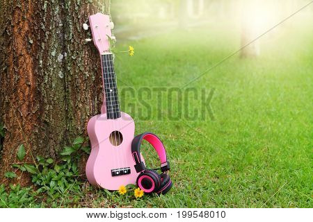 pink headphones and ukulele music on green grass background.