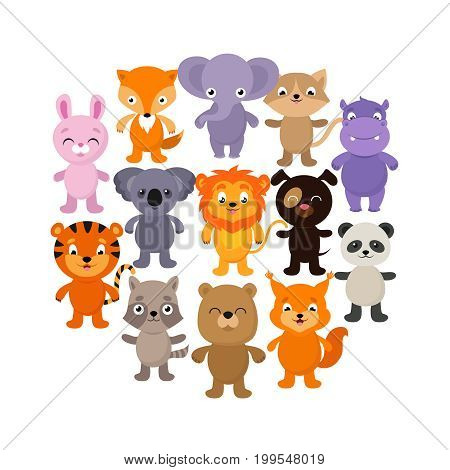Forest, savana and jungle baby animals. Cartoon vector character set. Young happy character animals illustration