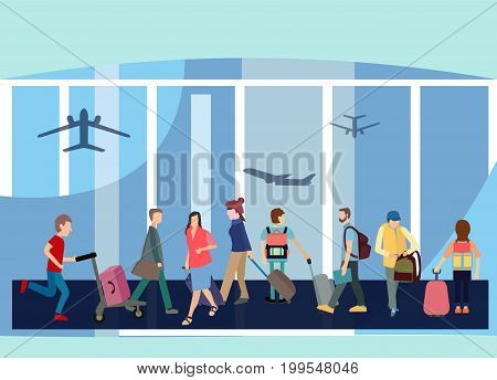Traveler People Airport Hall Departure Terminal Travel Baggage Bag Suitcase . Flat Design Style Interior of Terminal Hall with Passenger.