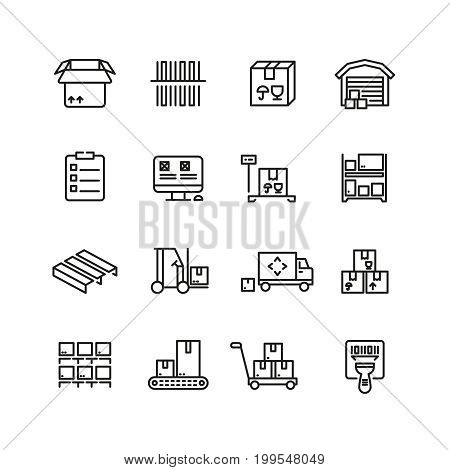 Storage service, warehouse, package delivery and equipment vector line icons. Freight and package, cargo container storage illustration