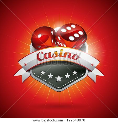 Vector Illustration On A Casino Theme With Dices And Ribbon. Eps 10 Design.