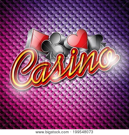 Vector Illustration On A Casino Theme With Poker Symbols And Shiny Texts On Abstract Pattern Backgro