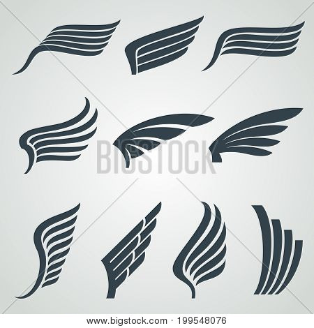 Eagle and angel wings icons. Flight vector heraldic symbols isolated. Wing angel and eagle tattoo illustration