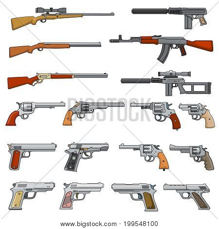 Various rifle, guns and pistols cartoon vector weapons icons. Collection of pistol and gun, shotgun and handgun illustration