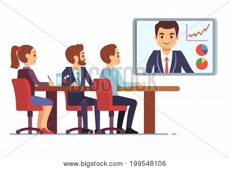 Video meeting in office boardroom with ceo and employees. Business teamwork and digital online communication vector concept. Business video conference office illustration