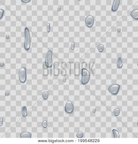 Water Pure Small Drops on Transparent Background Design Element Nature Rain or Dew. Vector illustration