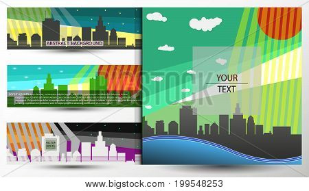 Vector abstract banner, background, headline with city