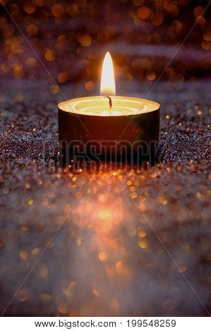 Prayer And Hope Concept. Retro Candle Light With Lighting Effect And Glitter Abstract Background Wit